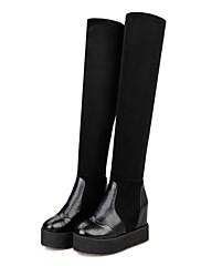 女性-オフィス / カジュアル-レザーレット-フラットヒール-ファッションブーツ-ブーツ-ブラック