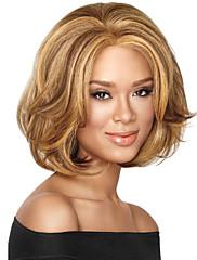 antény bez patice mix barev středně dlouhé vysoce kvalitní přírodní vlna syntetický vlasy paruka s plnou třesku
