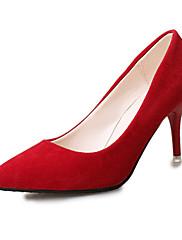 Dámské Podpatky Pohodlné Kůže Zima Ležérní Chůze Pohodlné Vysoký Průhledný podpatek Šedá Červená Modrá Růžová Bledě růžová 7.5 - 9.5 cm