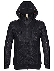 男性 カジュアル/普段着 秋 / 冬 ソリッド ジャケット,シンプル フード付き ブラック ポリウレタン 長袖 厚手