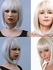 módní syntetické paruky paruka bob čistý třesk Stříbrná paruky Kanekalon dámská vlasy tepelně odolné