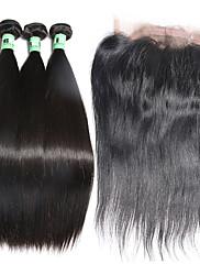 閉鎖が付いている毛横糸 マレーシアンヘア ストレート 12ヶ月 4個 ヘア織り