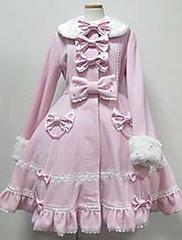 Abrigo Gosurori Princesa Cosplay Vestido  de Lolita Rosado Blanco Moda Manga Larga Lolita Abrigo por