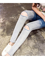 Damer Enkel Mikroelastisk Tynde Skinny Jeans Bukser,Alm. taljede Ensfarvet
