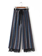 レディース ストリートファッション ハイライズ ワイドレッグ マイクロエラスティック ワイドレッグ パンツ スリット プリント
