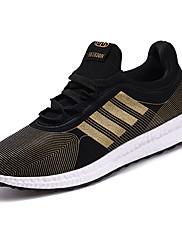 Herrer Sneakers Komfort Lysende såler Tyl Forår Efterår Afslappet Komfort Lysende såler Snøring Flad hæl Hvid Sort Sort og Guld Flad