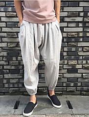 メンズ シンプル 活発的 ミッドライズ ストレート ワイドレッグ 非弾性 スリム パンツ ソリッド