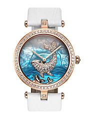 Mulheres Relógio de Moda Relógio de Pulso Quartzo Impermeável Couro Legitimo Banda Branco Azul