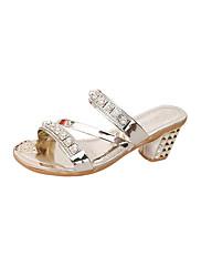 Damer Sko PU Sommer Komfort Sandaler Flad hæl Rund Tå Bjergkrystal Til Afslappet Guld Sølv Mørkegrå