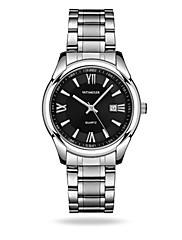 Homens Relógio Elegante Relógio de Moda Quartzo Calendário Impermeável Noctilucente Lega Banda Prata