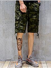 メンズ 活発的 シノワズリ ミッドライズ ルーズ ストレート 非弾性 チノパン ショーツ パンツ カモフラージュ