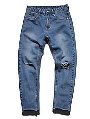 Pánské Jednoduchý Mikro elastické Džíny Kalhoty Štíhlý Mid Rise Jednobarevné