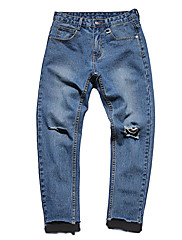 Masculino Simples Cintura Média Micro-Elástica Jeans Calças,Delgado Sólido