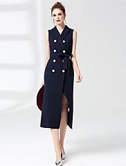Dámské Běžné/Denní Pouzdro Šaty Jednobarevné,Bez rukávů Košilový límec Midi Délka ke kolenům Polyester Podzim Mid Rise Lehce elastické