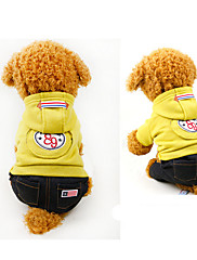 Cachorro Camisola com Capuz Roupas para Cães Esportes Carta e Número Amarelo Vermelho