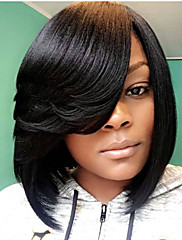 Medium Sort Lige Side del Afrikansk amerikansk paryk For sorte kvinder Bob Haircut Med Bangs Syntetisk hår Lågløs Naturlig paryk