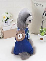 Cachorro Macacão Roupas para Cães Casual Jeans Preto Azul