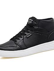 Ženske Cipele PU Proljeće Jesen Udobne cipele Svjetleće tenisice Sneakers Ravna potpetica Okrugli Toe Vezanje Za Kauzalni Obala Crn