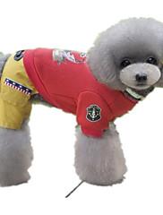 Cachorro Macacão Roupas para Cães Casual Marinheiro Cinzento Vermelho