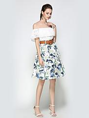 Damer I-byen-tøj Afslappet/Hverdag Ferie Knælængde Nederdele A-linje Blomstret Efterår Vinter