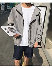 Masculino Jaqueta Esportes Simples Outono,Sólido Padrão Poliéster Com Capuz Manga Longa