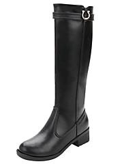 レディース 靴 レザー 秋 冬 ファッションブーツ コンバットブーツ フラフライニング ブーツ ローヒール ラウンドトウ ニーハイブーツ ベックル ジッパー 用途 カジュアル ブラック
