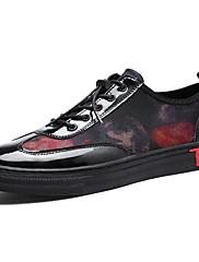 Masculino sapatos Couro Ecológico Primavera Outono Conforto Tênis Cadarço Para Casual Preto Prata Preto/Vermelho