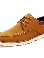 Masculino sapatos Couro Ecológico Primavera Outono Conforto Tênis Franzido Cadarço Para Casual Preto Marron Azul