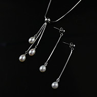 White A Pearl Necklace With Silver Chain Matching Earring