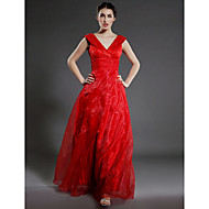 Lanting Bride® A-line Plus Size / Petite Mother of the Bride Dress Floor-length Sleeveless Organza withRuffles / Cascading Ruffles /