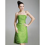 Organza Stretch Satin Sheath/Column Strapless Evening Dress