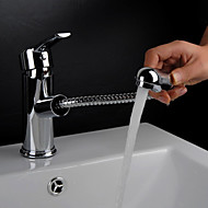 Traditional Centerset Pullout Spray with  Ceramic Valve Single Handle One Hole for  Chrome , Bathroom Sink Faucet