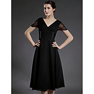 A-line Plus Sizes Mother of the Bride Dress - Black Tea-length Short Sleeve Chiffon/Tulle