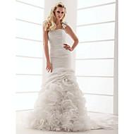 Lanting Bride Fit & Flare Petite / Plus Sizes Wedding Dress-Court Train One Shoulder Taffeta