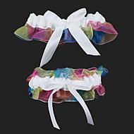 ウエデイング/パーティー ガーターリング 2個セット ホワイトと虹色(0273-15)