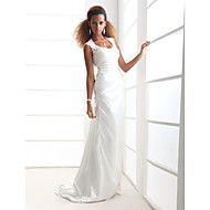 Lanting Bride Sheath/Column Petite / Plus Sizes Wedding Dress-Sweep/Brush Train Scoop Charmeuse