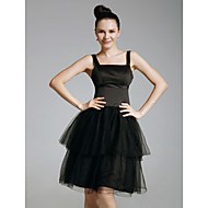 Cocktail Party/Prom/Holiday/Sweet 16 Dress - Black Plus Sizes A-line/Princess Straps/Square Knee-length Satin/Organza
