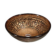 Brown Round Tempered glass Vessel Sink(0888-BLY-6594)