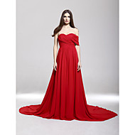 Formal Evening Dress - Ruby Plus Sizes A-line Off-the-shoulder/Sweetheart Court Train Chiffon