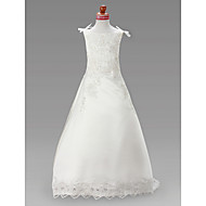 A-line/Princess Sweep/Brush Train/Court Train Flower Girl Dress - Satin Sleeveless