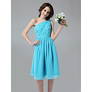 Homecoming Knee-length Chiffon Bridesmaid Dress - Pool Plus Sizes A-line/Princess One Shoulder