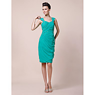 Sheath / Column Plus Size / Petite Mother of the Bride Dress Knee-length Sleeveless Chiffon with Beading / Side Draping