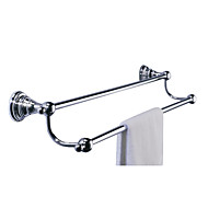 "Towel Bar Chrome Wall Mounted 65 x 610 x 120mm (2.55 x 24.0 x 4.72"") Brass Contemporary"