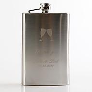 Gift Groomsman Personalized Metal  9-oz Flask - Toasting Flutes