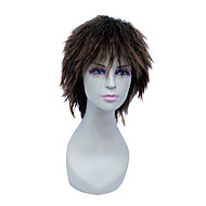 korkiton lyhyt korkean lämpötilan lanka ruskea luonnollinen aalto hiukset peruukki