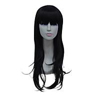 korkiton pitkä korkean lämpötilan lanka mustat suorat hiukset peruukki