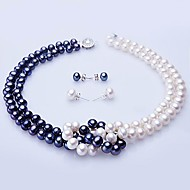White & Blue Freshwater Pearl Necklace & Earring Set