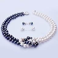 blanco y azul de agua dulce collar de perlas y aretes