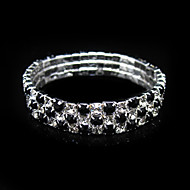 Three Layers Black And Clear Ladies' Rhinestone Wedding Tennis In Silver Alloy