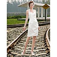 Lanting Sheath/Column Plus Sizes Wedding Dress - Ivory Short/Mini Halter Satin